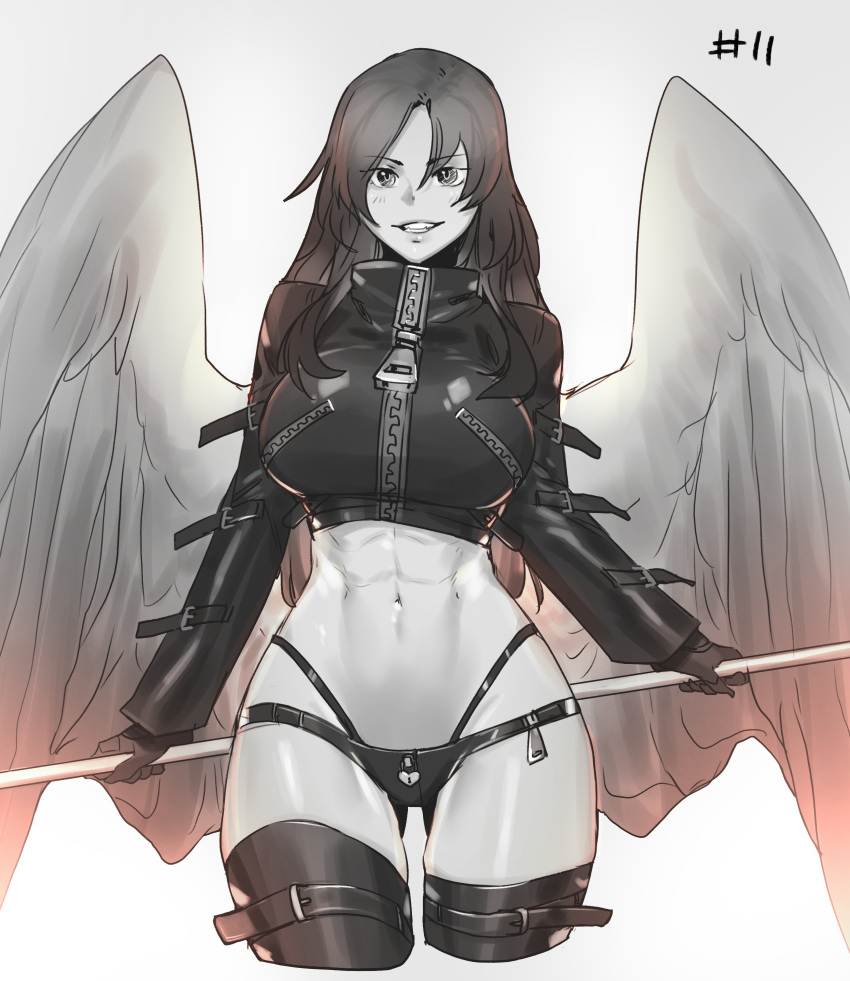 1girl abs absurdres ass_visible_through_thighs bangs breasts commentary crop_top cropped_legs eyebrows_visible_through_hair feathered_wings gloves grey_background grin hair_between_eyes heart-shaped_lock highres large_breasts less long_hair long_sleeves looking_at_viewer muscular muscular_female navel original parted_lips simple_background smile solo stomach thigh-highs wings zipper zipper_pull_tab