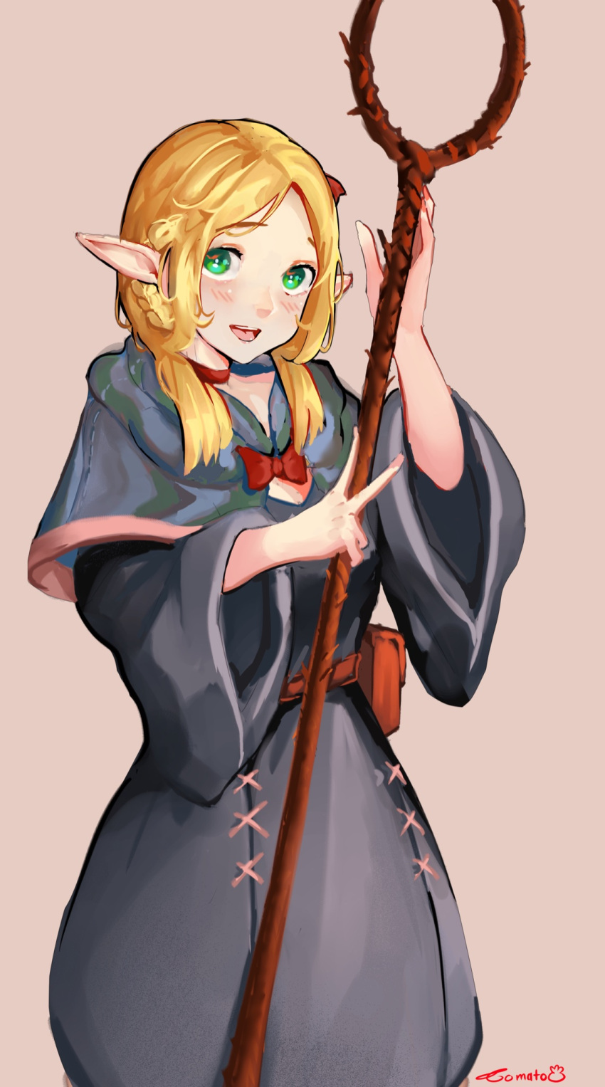 1girl artist_name bag blonde_hair blush bow braid choker commission commissioner_upload cowboy_shot dungeon_meshi elf green_eyes highres holding looking_at_viewer marcille open_mouth pointy_ears robe signature simple_background smile solo staff tomatolover16 twin_braids v