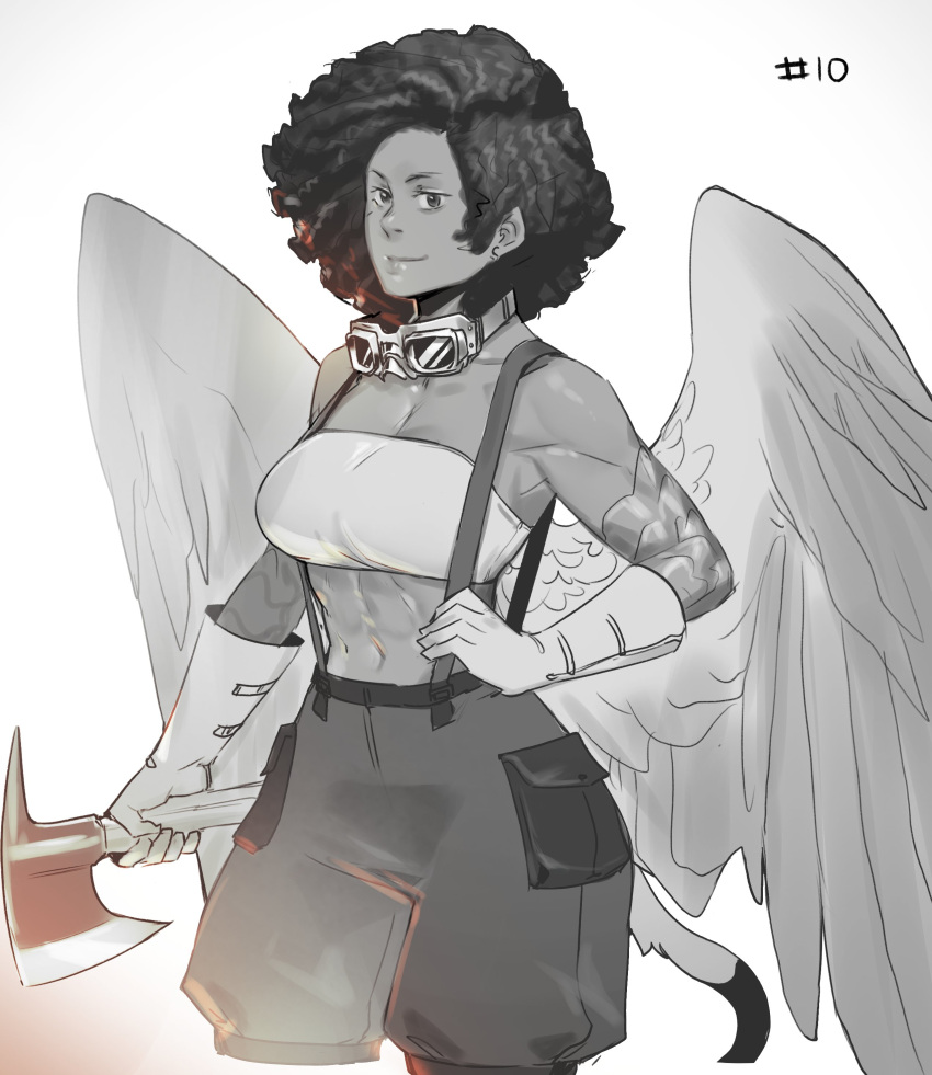 1girl abs absurdres afro axe bare_shoulders breasts commentary cropped_legs feathered_wings gloves goggles goggles_around_neck greyscale hand_on_hip highres holding holding_axe large_breasts less medium_hair midriff monochrome muscular muscular_female original puffy_shorts scales shorts simple_background smile solo strapless suspender_shorts suspenders tail tube_top white_background wings