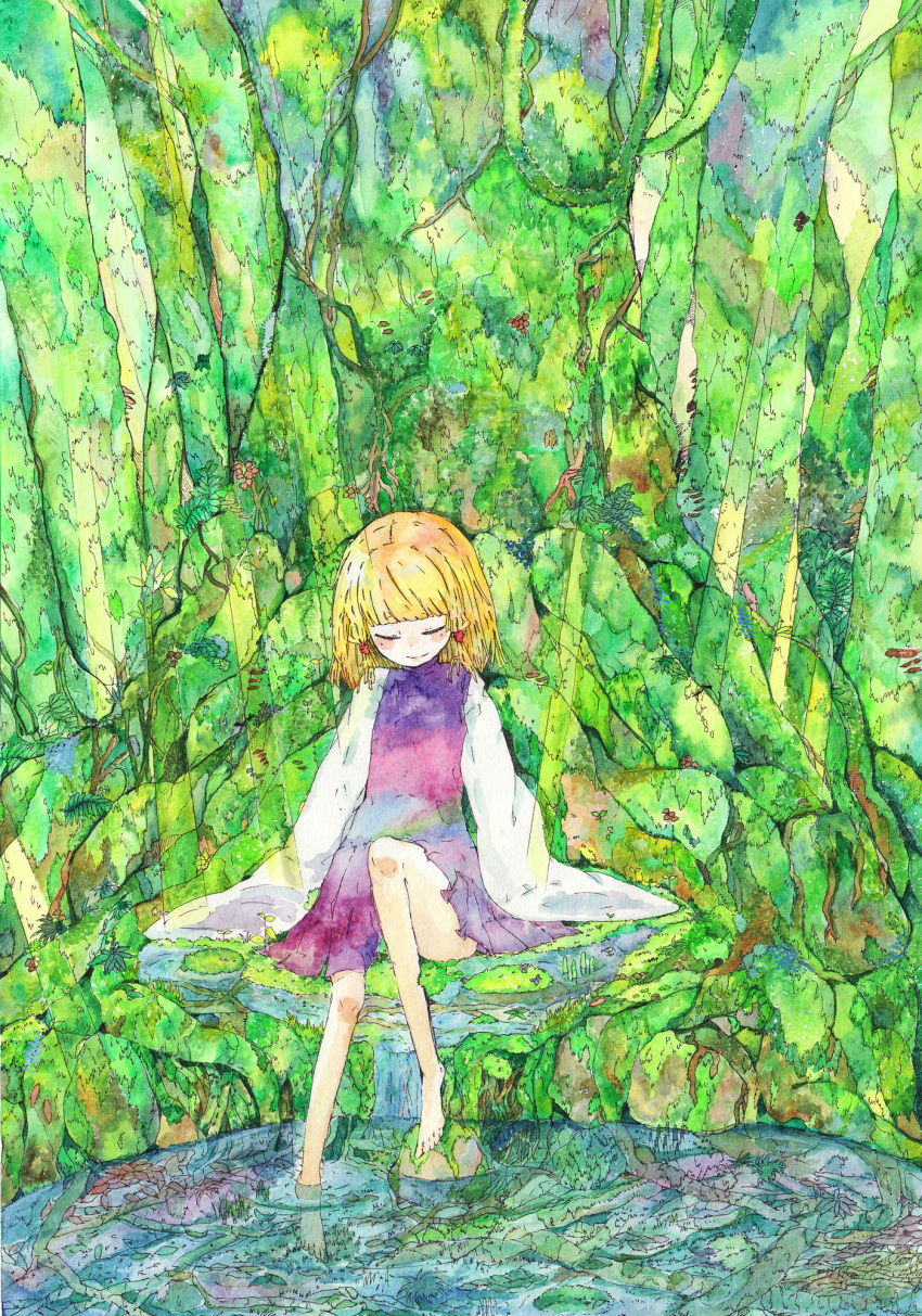 blonde_hair closed_eyes conose feet feet_in_water hat highres long_sleeves moriya_suwako moss nature roots smile soaking_feet sunbeam sunlight touhou traditional_media water watercolor_(medium)