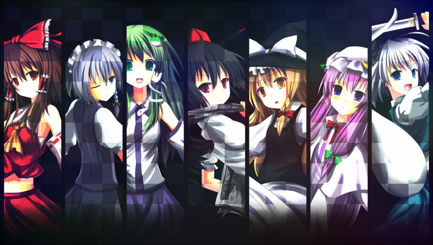 7girls black_hair blonde_hair blue_eyes braid brown_eyes brown_hair column_lineup dress gingami green_hair hakurei_reimu hat izayoi_sakuya kirisame_marisa kochiya_sanae konpaku_youmu long_hair nagomi_no_ame newspaper patchouli_knowledge pink_hair ponytail red_eyes ribbon scarlet_weather_rhapsody shameimaru_aya short_hair smile sword touhou violet_eyes weapon wink