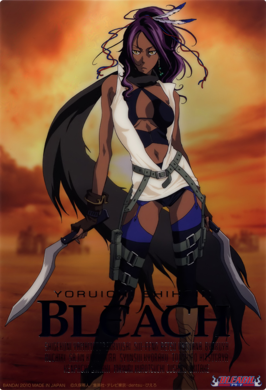 absurdres bag bleach boots card cosplay dark_skin dual_swords dual_wielding earrings feathers fingerless_gloves garter_belt gloves highres jewelry kubo_taito machete navel purple_hair resident_evil resident_evil_(movie) satchel scarf shihouin_yoruichi solo text thigh-highs thigh_strap thighhighs weapon yellow_eyes