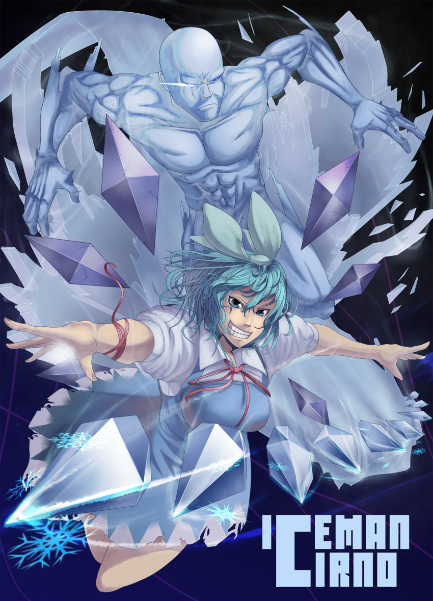 1girl adult bad_id blue_eyes blue_hair bow breasts character_name cirno crazy creepy crossover grin hair_bow highres ice iceman iceman_(x-men) maid marvel power_connection ribbon shelly_(artist) short_hair smile teeth touhou x-men