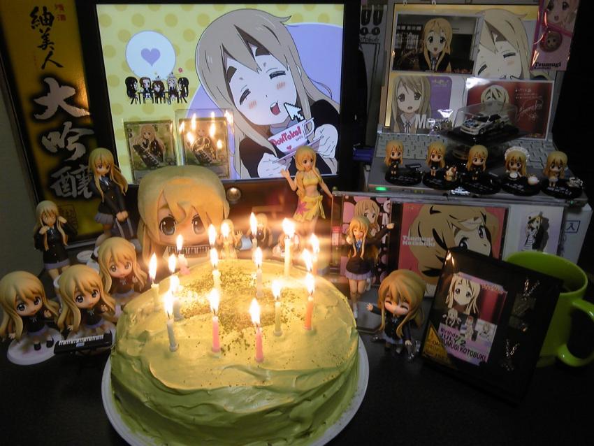 =_= birthday blonde_hair cake candle car cd cheek_poke cup directional_arrow figure food heart k-on! kotobuki_tsumugi lonely long_hair monitor motor_vehicle photo poke poking sake vehicle