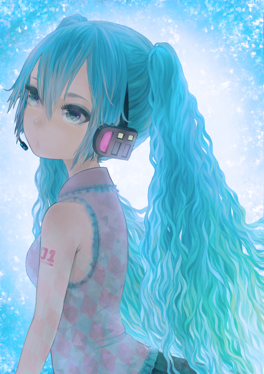 blue_eyes blue_hair hatsune_miku headphones headset highres long_hair maiko_kuzuga portrait solo twintails vocaloid wavy_hair