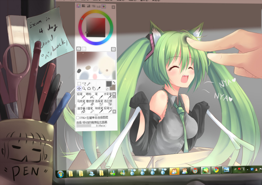 box cat_ears closed_eyes dreamlight2000 english fang girl_in_a_box green_hair happy hatsune_miku heart highres in_box in_container kemonomimi_mode long_hair monitor necktie nyan open_mouth painttool_sai poke poking scissors smile spring_onion twintails very_long_hair vocaloid windows_7