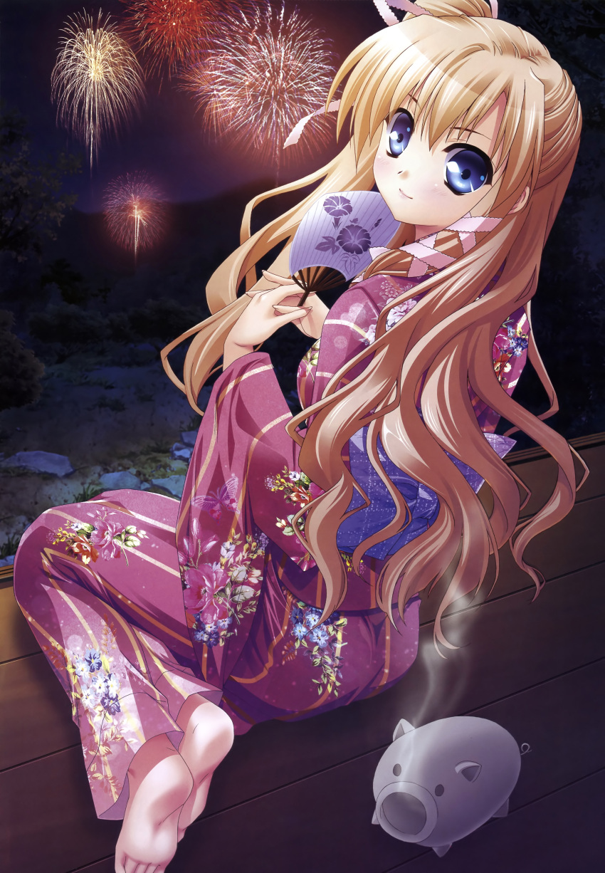 aerial_fireworks akashi_kokoro barefoot blonde_hair blue_eyes fan fireworks floral_print hair_ribbon highres incense japanese_clothes katori_buta kimono long_hair minase_lin orange_memories pig ribbon yukata