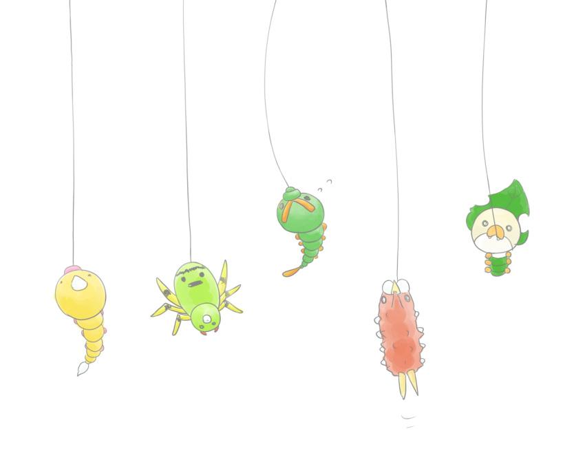 caterpie highres pokemon sewaddle simple_background spinarak string weedle wurmple