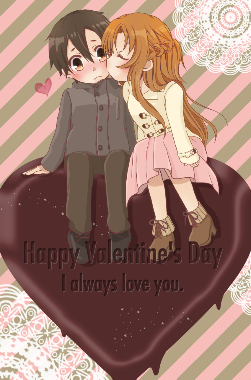 1boy 1girl asuna_(sao) black_hair brown_eyes brown_hair chibi chiyokichi chocolate chocolate_heart couple english heart highres kirigaya_kazuto kirito kiss long_hair short_hair sitting sword_art_online valentine yuuki_asuna