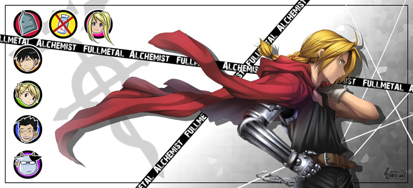 belt black_hair blonde_hair braid chain edward_elric flamel_symbol fullmetal_alchemist maes_hughes male mechanical_arm riza_hawkeye roy_mustang tidsean winry_rockbell yellow_eyes