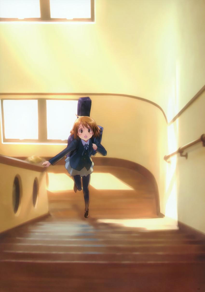 black_pantyhose goto_p highres hirasawa_yui k-on! long_sleeves open_mouth pantyhose skirt solo stairs