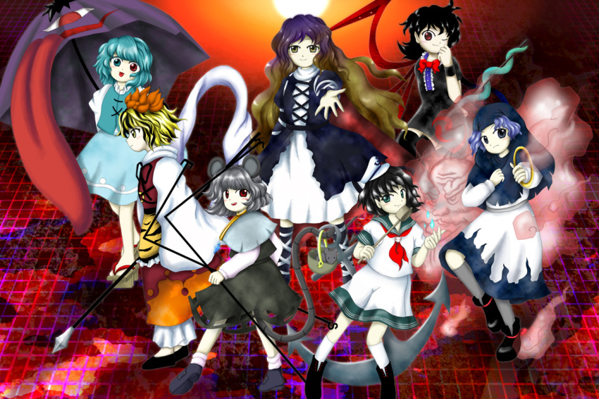 anchor animal_ears asymmetrical_wings black_hair black_thighhighs blonde_hair blue_eyes blue_hair bow clouds dress green_eyes grey_hair hat heterochromia hijiri_byakuren hood houjuu_nue jewelry kumoi_ichirin long_hair mdnk mouse mouse_ears mouse_tail multicolored_hair multiple_girls murasa_minamitsu nazrin polearm red_eyes sailor sailor_collar sailor_hat sailor_suit short_hair smile snake style_parody tail tatara_kogasa thigh-highs tongue toramaru_shou touhou trident umbrella undefined_fantastic_object unzan weapon wings yellow_eyes