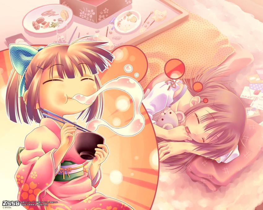 brown_hair dreaming food japanese_clothes kimono kiririn kotatsu lying mochi nengajou new_year on_side original osechi sleeping solo stuffed_animal stuffed_toy table wagashi wallpaper winter