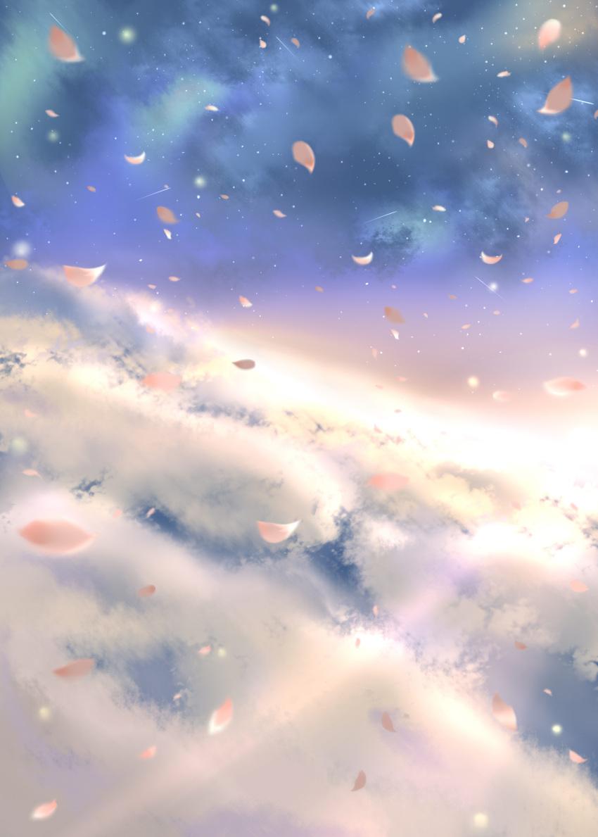 bunchou_(bunchou3103) cherry_blossoms cloud clouds copyright_request highres petals sakura sky sun