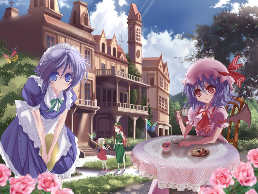 bad_perspective bat_wings blonde_hair blue_hair braid butterfly chair china_dress chinese_clothes clock clock_tower cloud cup flandre_scarlet flower grass hat highres hong_meiling izayoi_sakuya long_hair maid maid_headdress marionette_(excle) red_hair remilia_scarlet scarlet_devil_mansion short_hair sitting smile table teacup touhou tower tree window wings