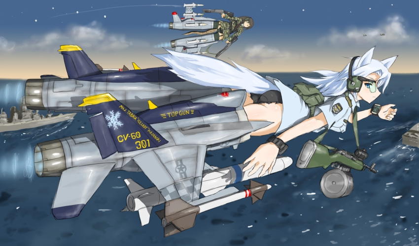 airplane animal_ears ass battle_rifle commentary drum_magazine dual_wielding f-18 fox_ears fox_tail glasses gun jet long_hair m14 military military_uniform missile ocean ogitsune_(ankakecya-han) okitsune_(ankakecya-han) panties rifle ship snake snake_tail star strike_witches strike_witches_1991 striker_unit tail underwear uniform weapon white_hair