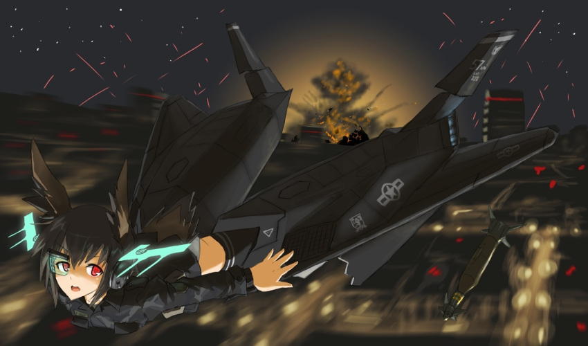 black_hair commentary f-117 head_wings hirschgeweih_antennas military neuroi night ogitsune_(ankakecya-han) okitsune_(ankakecya-han) red_eyes strike_witches strike_witches_1991 tail uniform