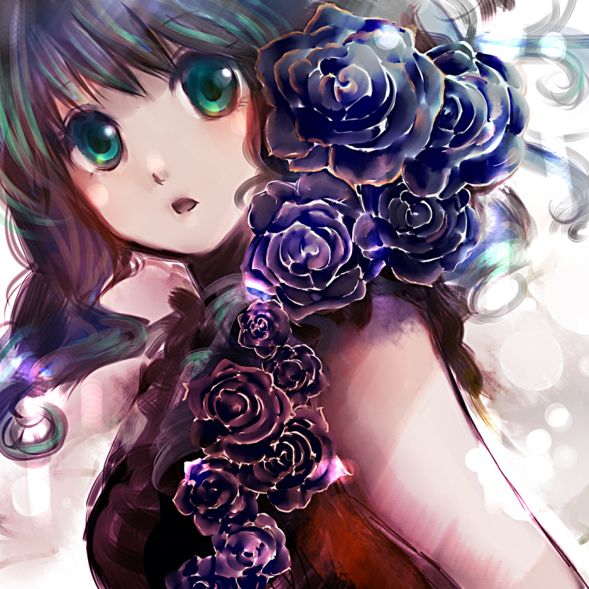 bare_shoulders black_rose black_rose_(flower) breasts flower green_eyes green_hair gumi highres nobu_yan open_mouth purple_rose rose solo vocaloid