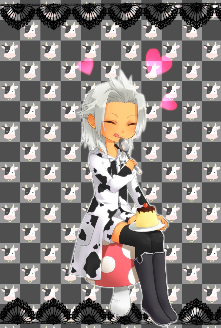 boots boy_cow cherry child cow eating highres kingdom_hearts male mushroom okitune-sama pudding silver_hair sitting solo spoon xemnas young