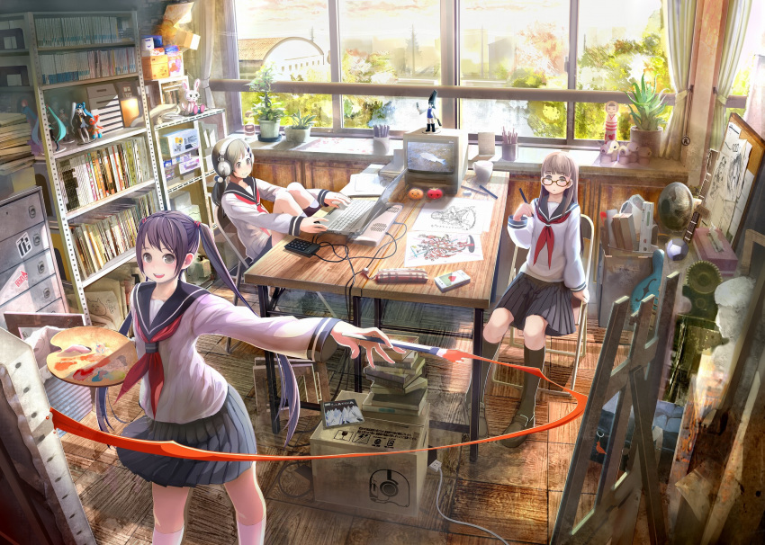 art_brush bad_perspective bad_proportions book bookshelf box canvas_(object) cardboard_box cd character_doll computer easel electric_fan figure glasses hatsune_miku headphones highres indoors laptop long_hair multiple_girls original outstretched_arm paint paintbrush painting plant potted_plant room school school_uniform serafuku shirakaba short_hair sitting television twintails very_long_hair vocaloid window
