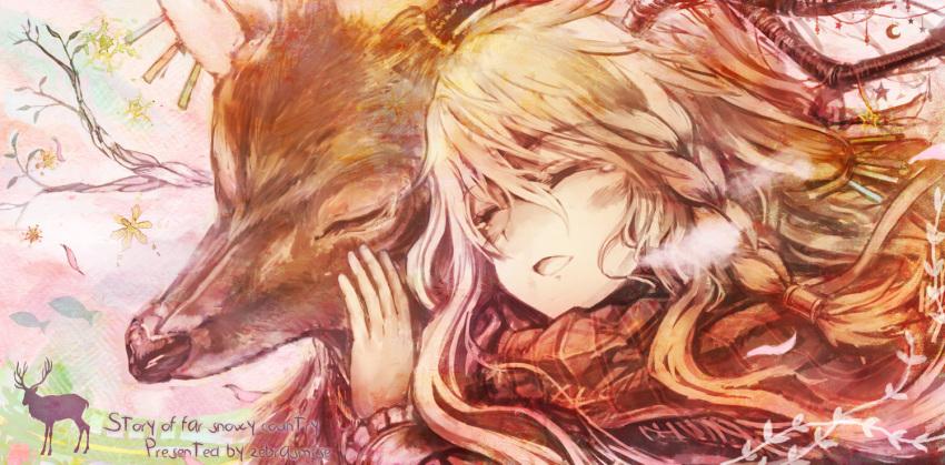 akebane antlers blonde blonde_hair braid breath closed_eyes crescent deer eyes_closed hair_ornament original scarf solo star tears