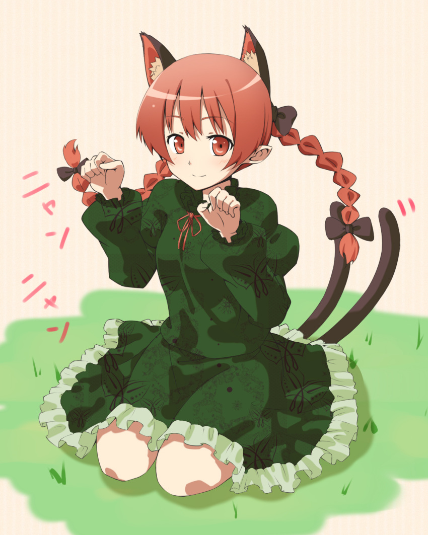 animal_ears braid cat_ears cat_pose cat_tail dress highres kaenbyou_rin paw_pose ragyuo red_eyes red_hair redhead sitting smile solo tail touhou twin_braids twintails