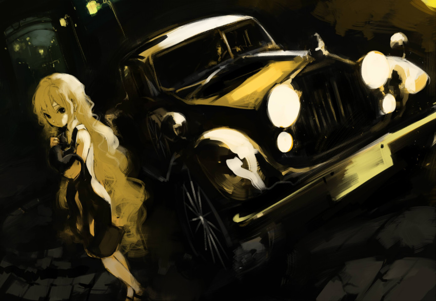 bad_id bare_shoulders black_eyes blonde_hair car dress dutch_angle faux_traditional_media kusanagi_kikoku lamp left-hand_drive long_hair motor_vehicle original solo speed_painting standing street vehicle very_long_hair wavy_hair