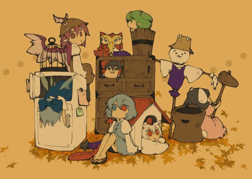 >:) >:d 2ch :3 :d animal_ears black_hair blue_hair bow bucket bunny_ears cirno doghouse girl_in_bucket green_hair hair_bow hakurei_reimu hat heterochromia highres hourai_doll in_bucket in_container inaba_tewi inubashiri_momiji karakasa_obake kisume mallet moriya_suwako multiple_girls mystia_lorelei open_mouth pink_hair red_eyes refrigerator scarecrow shanghai_doll short_hair sitting smile susaburu_asatsuki syoboon tatara_kogasa touhou umbrella white_hair wings yukkuri_shiteitte_ne