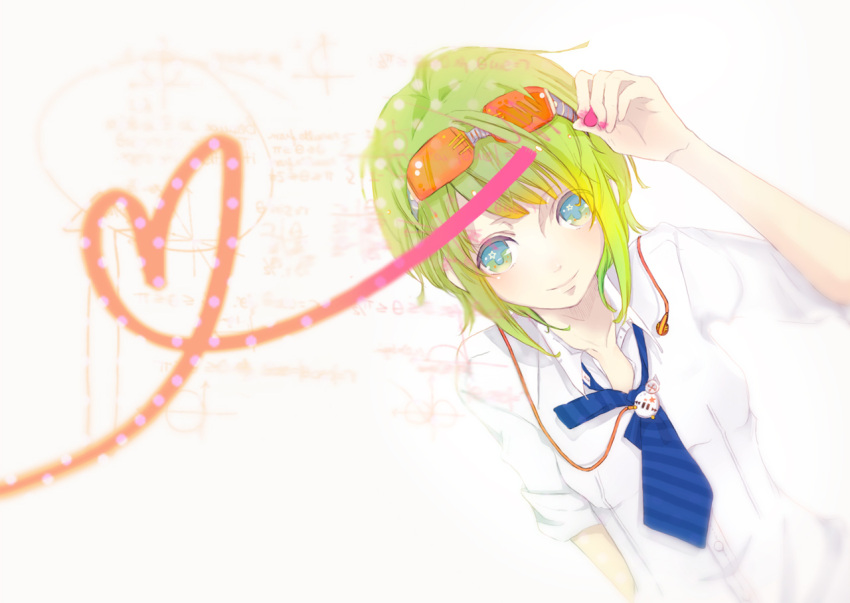blue_eyes chalk earphones glasses green_hair gumi headphones heart necktie penchop portrait smile solo source_request vocaloid