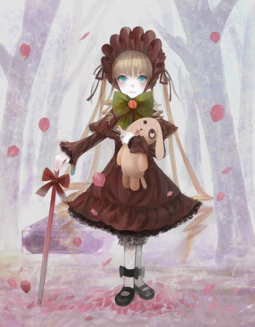 bad_id cane gothic_lolita highres jasmine_(jasco) kunkun lolita_fashion rozen_maiden shinku shinkuu solo stuffed_toy
