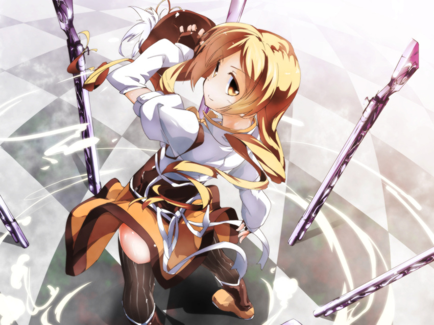 >:) alta beret blonde_hair boots detached_sleeves drill_hair fingerless_gloves foreshortening from_above gloves gun hat hat_removed headwear_removed holding holding_hat looking_back magical_girl magical_musket mahou_shoujo_madoka_magica oruta_(owata_saber) puffy_sleeves rifle short_hair short_twintails solo tareme thigh-highs thighhighs tomoe_mami twintails vertical-striped_legwear vertical-striped_thighhighs vertical_stripes weapon wind_lift yellow_eyes