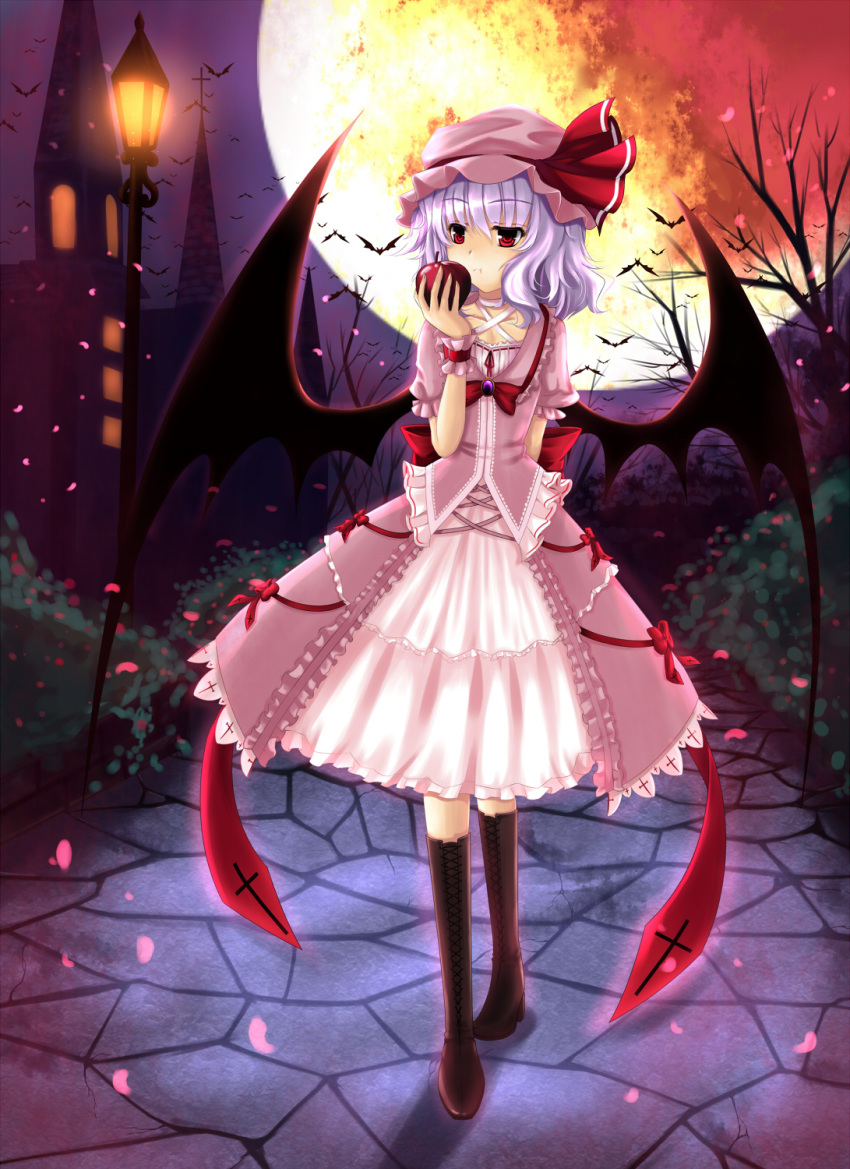 apple bat bat_wings blue_hair boots castle cherry_blossoms dress eating food fruit full_moon hat highres lantern loli moon pink_dress purple_hair red_eyes remilia_scarlet ribbon short_hair solo touhou tree wings zzz36951