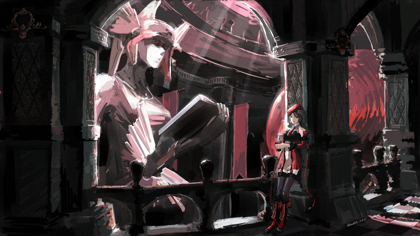 against_wall alternate_color bad_id beret black_hair blazblue boots chevasis column cup detached_collar detached_sleeves garters hat highres light looking_at_viewer necktie noel_vermillion pillar red_eyes solo statue thighhighs