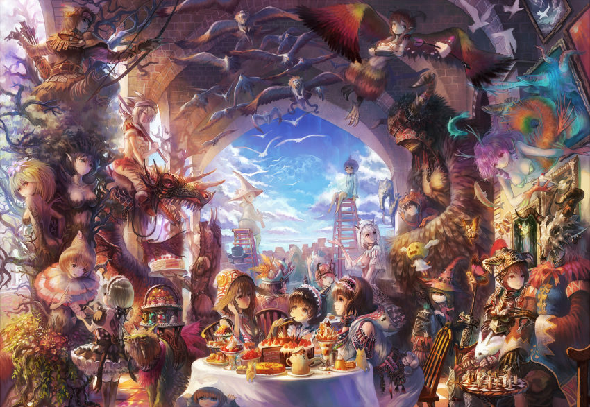 adder bow_(weapon) breasts cake chessboard cloud clouds crowd dragon dress dryad fairy fantasy feast feathers feeding food fruit gothic_lolita hat highres ladder large_breasts lolita_fashion mask monster_girl mushroom original pastry plant_girl sakai_yoshikuni sideboob sitting sky strawberry surreal table tiered_tray tree weapon witch_hat