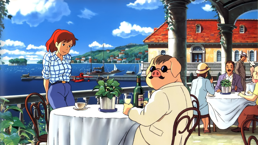 chair clouds ghibli kurenai_no_buta moustache plant porco_rosso porco_rosso_(character) red_hair sea seaplane sky sunglasses table wine
