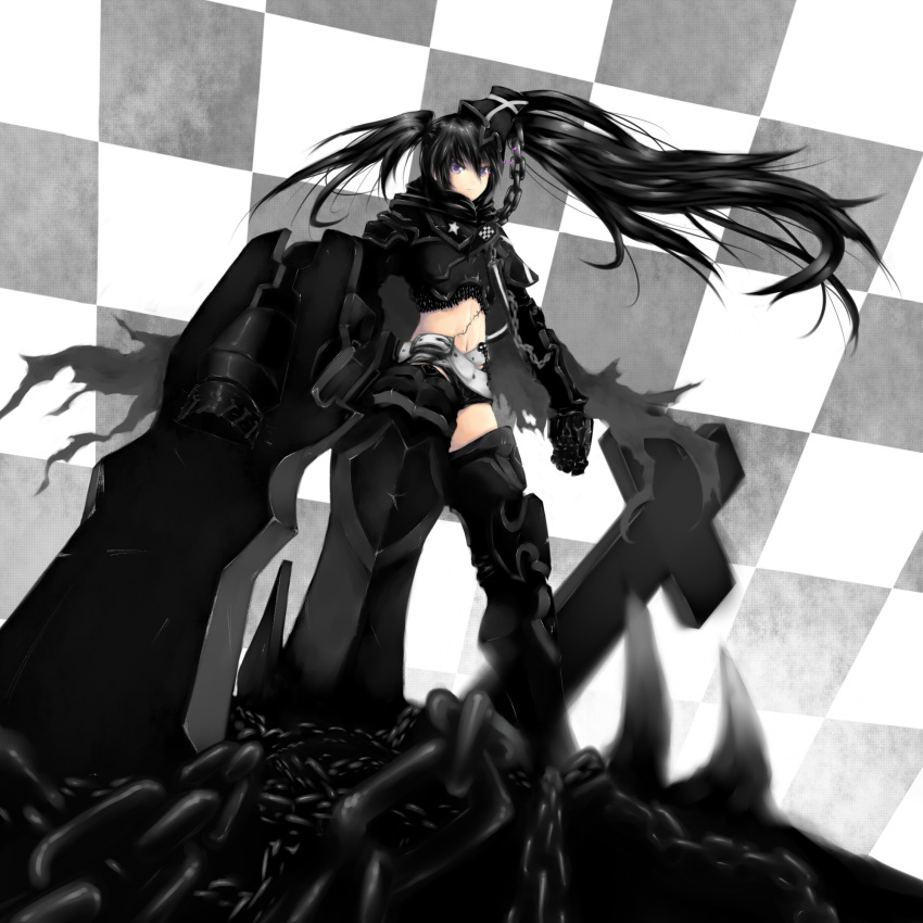 armor belt black_hair black_rock_shooter boots chain checkered cross gauntlets greaves highres huge_weapon insane_black_rock_shooter long_hair maron midriff pale_skin purple_eyes scar shorts stitches thigh_boots thighhighs twintails weapon