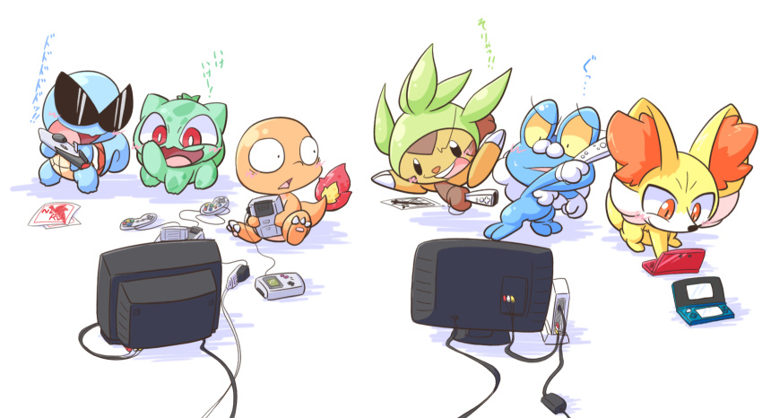 bulbasaur charmander chespin fennekin froakie game_boy highres link_cable nettsu-_(sinker-ball) nintendo nintendo_3ds no_humans playing_games pokemon pokemon_(creature) pokemon_(game) pokemon_rgby pokemon_xy snes squirtle sunglasses television wii