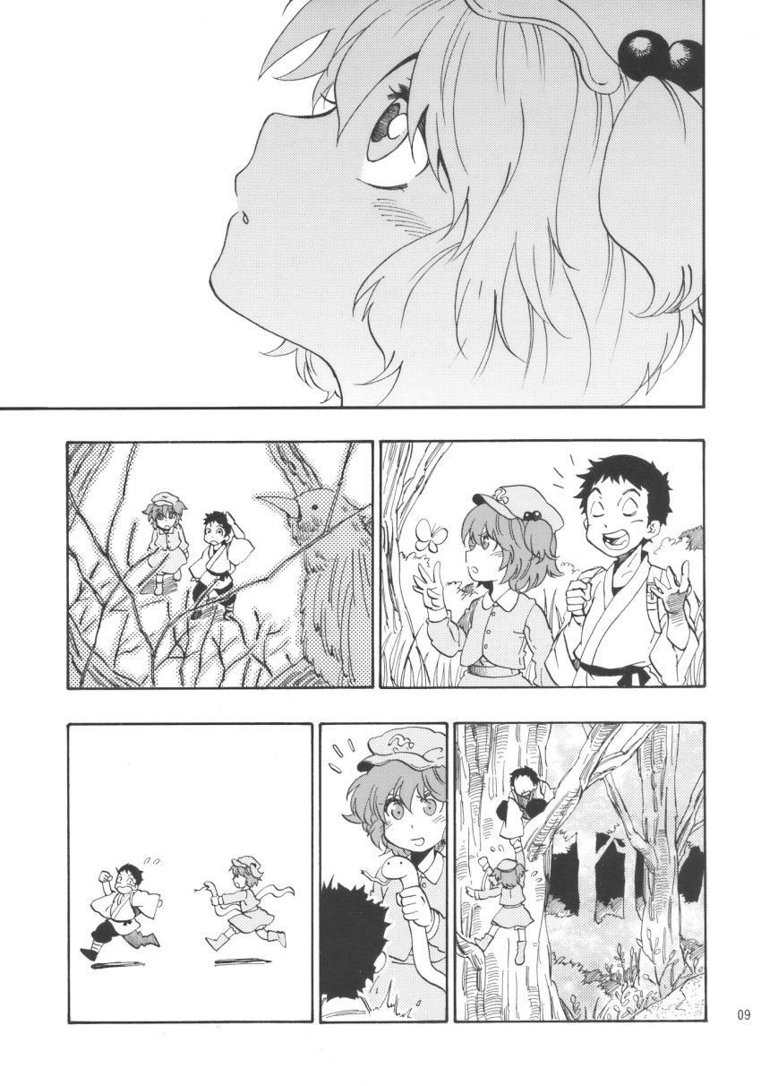 bloomers boots butterfly charin child climbing comic forest hair_bobbles hair_ornament hat highres kawashiro_nitori monochrome nature running silent_comic smile snake touhou twintails