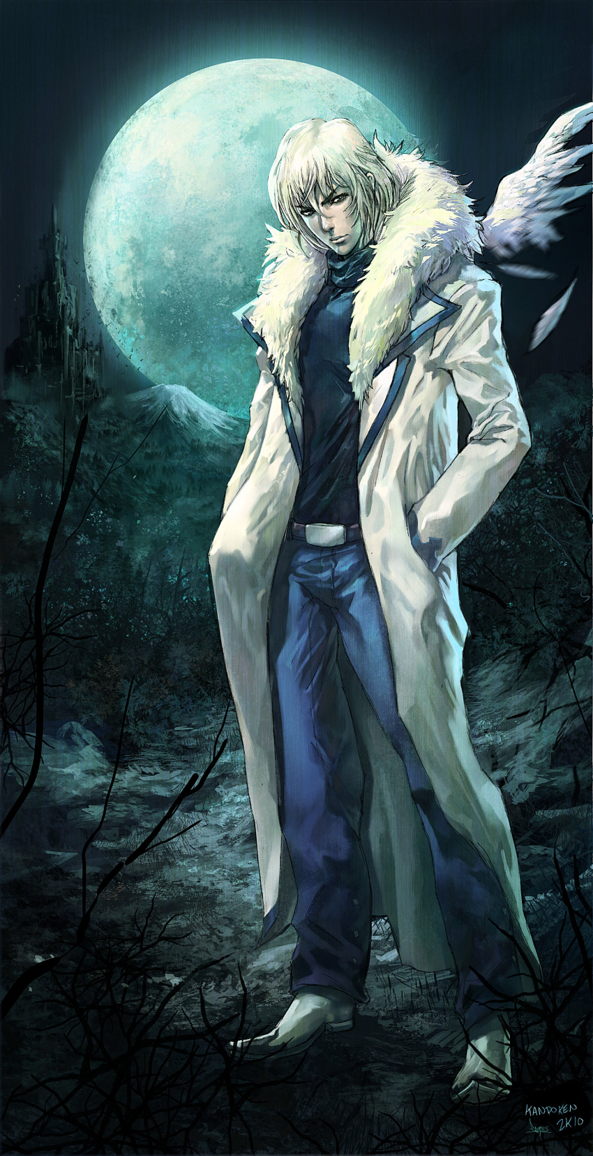 castlevania castlevania:_aria_of_sorrow coat full_moon fur_coat hands_in_pockets highres moon mountain soma_cruz steven_mack trench_coat turtleneck white_hair