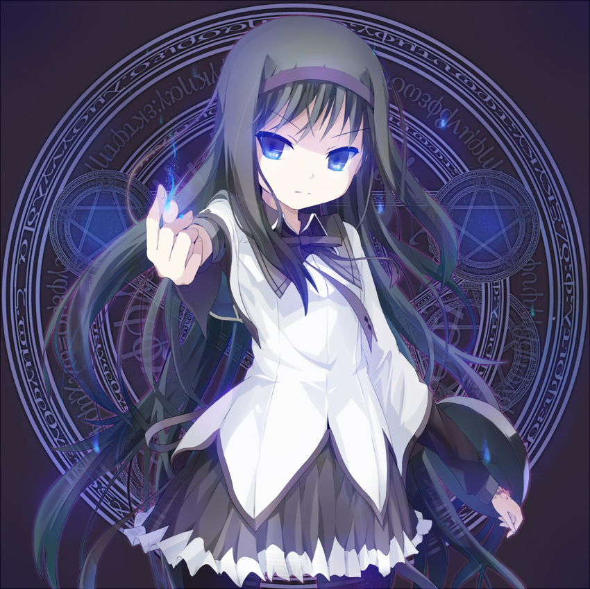 :| akemi_homura black_buraku black_hair blue_eyes blue_fire eye_reflection fire flame flat_chest frilled_skirt frills glaring glowing glowing_hand greek hair_ornament hairband highres long_hair magic_circle magical_girl mahou_shoujo_madoka_magica ogipote outstretched_arm pantyhose pleated_skirt pyrokinesis reflection ribbon serious shield shirt skirt solo soul_gem standing star transparent