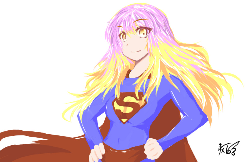 dc_comics gradient_hair hijiri_byakuren long_hair milksea multicolored_hair parody solo superman superman_(cosplay) touhou yellow_eyes