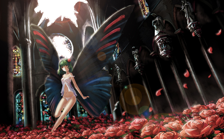 babydoll bad_id bare_legs butterfly_wings cathedral chevasis flower gertrud gertrud_(madoka_magica) green_hair hair_flower hair_ornament highres leg_lift lens_flare mahou_shoujo_madoka_magica navel panties personification petals red_eyes red_rose rose short_hair solo stained_glass strap_slip underwear underwear_only wings