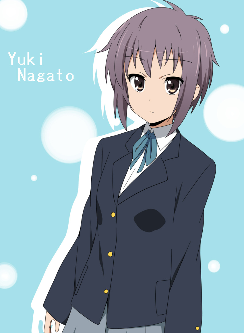character_name cosplay grey_hair highres ikari_manatsu k-on! nagato_yuki parody school_uniform short_hair style_parody suzumiya_haruhi_no_yuuutsu