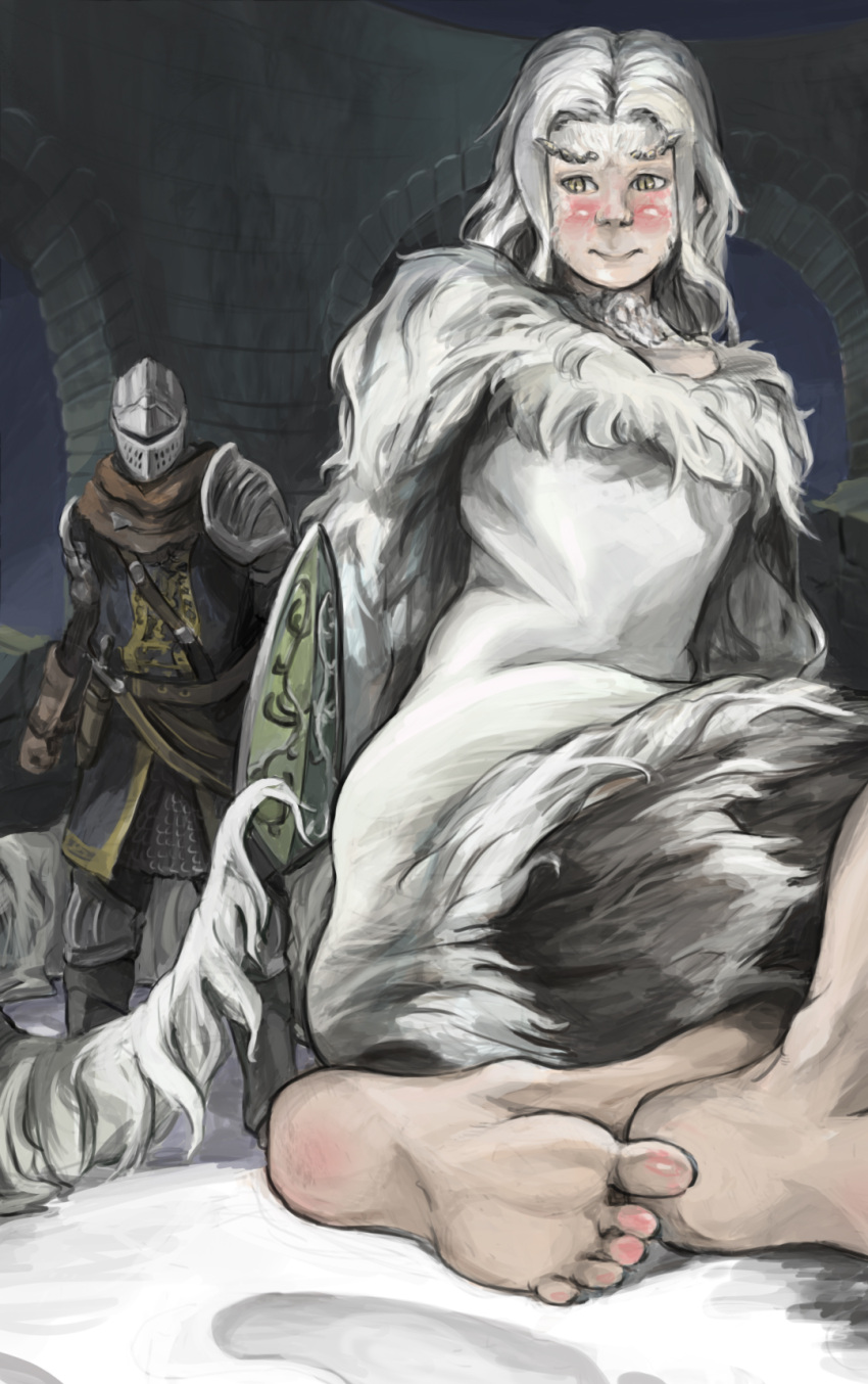 1boy 1girl barefoot blush choker dagger dark_souls dress embarrassed eyebrows fur fur_trim giantess highres knight long_hair monster_girl priscilla_the_crossbreed scarf shield slit_pupils soles thick_eyebrows weapon white_dress white_hair yellow_eyes zealk