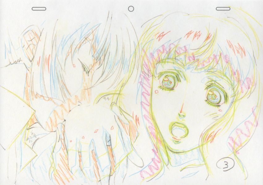 color_trace eyes_closed highres licking long_hair macross macross_frontier macross_frontier:_itsuwari_no_utahime production_art saotome_alto sheryl_nome sketch surprised