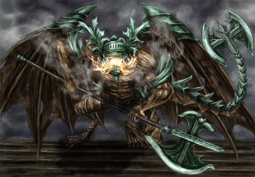 belfry_gargoyle bell_gargoyle dark_souls fire helmet huge_weapon tail weapon