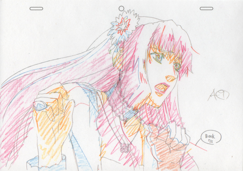 earrings flower highres jewelry long_hair macross macross_frontier macross_frontier:_itsuwari_no_utahime necklace pendant production_art ring sheryl_nome sketch