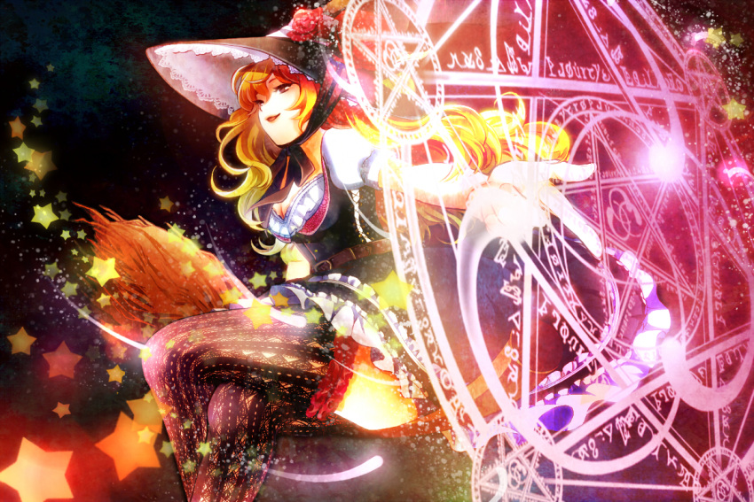 adapted_costume belt blonde_hair breasts broom cleavage crossed_legs dress hat i_wanna kirisame_marisa legs_crossed magic_circle open_mouth pointing sitting smile solo star thigh-highs thighhighs touhou witch witch_hat yellow_eyes