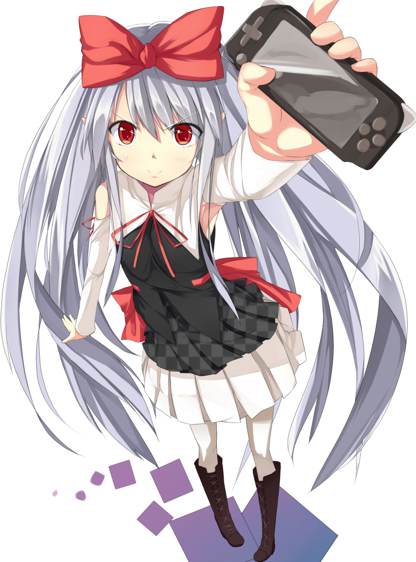 absurdres armpits ban_(bannyata) boots bow checkered checkered_skirt copyright_request detached_sleeves hair_bow highres knee_boots long_hair playstation_portable psp red_eyes silver_hair simple_background skirt smile solo very_long_hair white_legwear