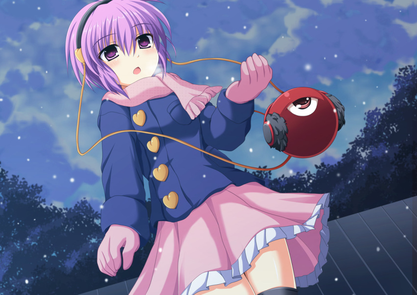 alternate_costume blush cross_(crossryou) earmuff earmuffs eyeball gloves hairband heart komeiji_satori pink_eyes pink_hair scarf short_hair skirt solo third_eye touhou
